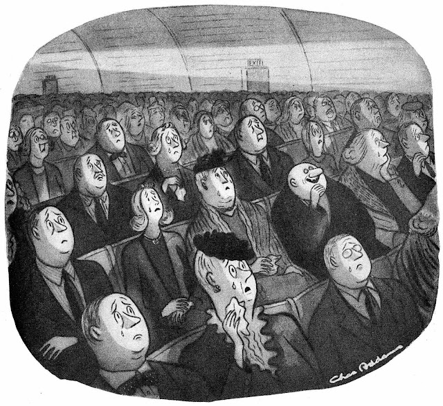 cartoonist Charles Addams' Uncle Fester from 'The Addams Family, laughing inappropriately