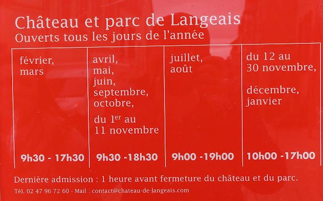Horarios del castillo de Langeais