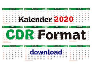 Download Template kalender 2020 CDR Arab, Jawa dan Masehi