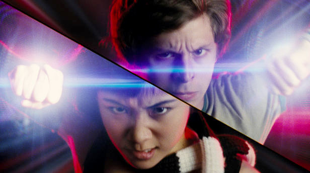 Here we see Scott Pilgrim and Knives Chau battling over whose lens flare can blind the other person faster.