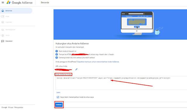 Hubungkan situs anda ke Adsense