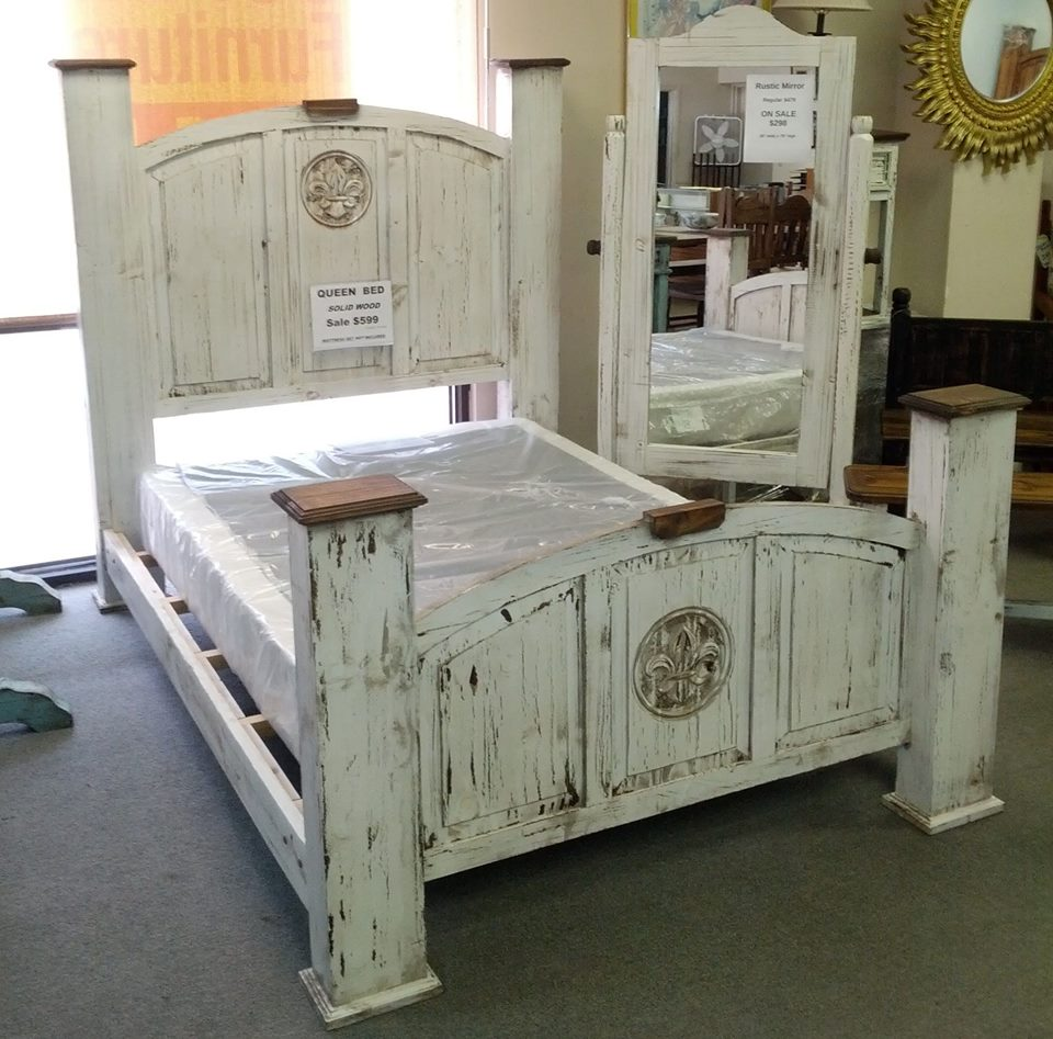 Furniture Outlet Of Covington Rustic Style 4pc Bedroom Scraped White Finish