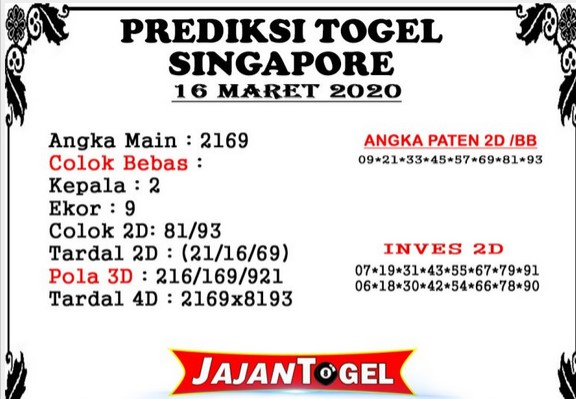 Prediksi Togel Singapura Senin 16 Maret 2020 - Prediksi Jajan Togel