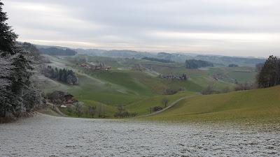 Emmentaler Hügellandschaft mit Raureif