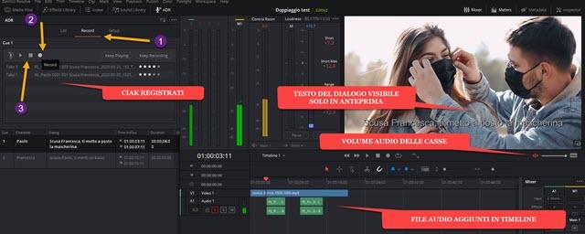 registrare doppiaggio audio con davinci resolve