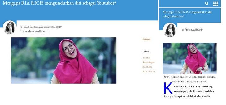 cara meletakan photo profile penulis di atas postingan blogger