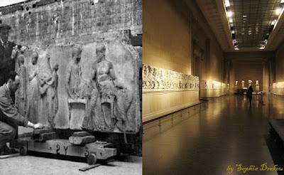 Εκ δεξιών ο Έλγιν με τα Γλυπτά μας να τα «γλυκοκοιτάζει» και εξ αριστερών το αποτέλεσμα της Κλοπής των αιώνων, στο Μουσείο της Βρετανίας η οποία αρνήθηκε την επιστροφή των Γλυπτών που έκλεψε ο Έλγιν.