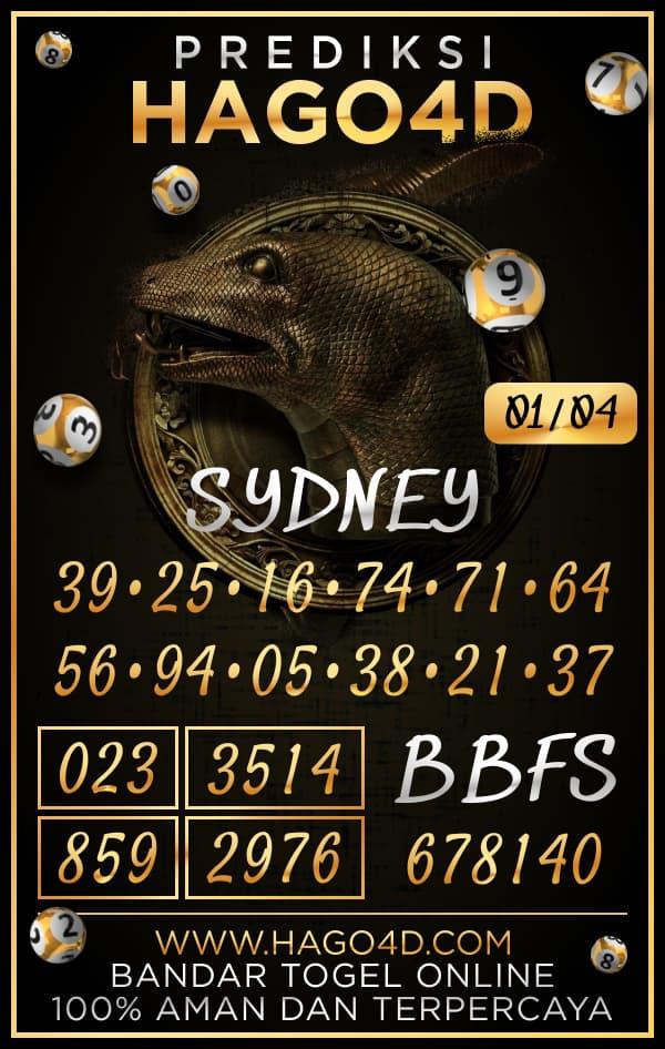 Prediksi Hago4D - Kamis, 1 April 2021 - Prediksi Togel Sydney