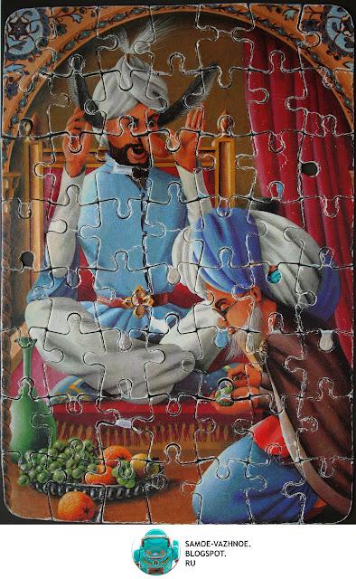 Маленький Мук пазл СССР, ГДР мозаика, игра. Маленький Мук лекарь, врач, доктор, ослиные уши