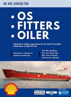 SEAMAN JOB available maritime career for Filipino seaman crew join on oil tanker ship deployment Nov-Dec 2018.