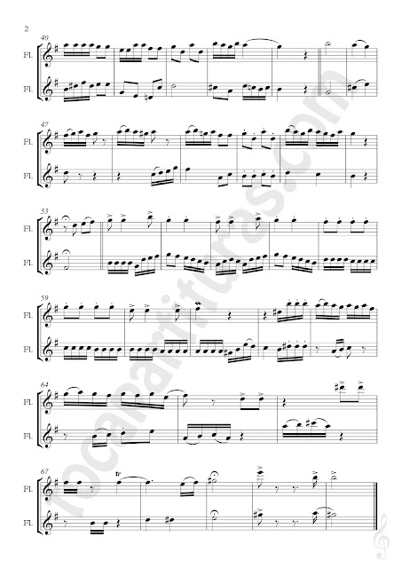 Music Scores 2 Partituras para Pequeño Dúo de Flautas Transversales o Traversas a Dos Voces Sheet Music for Flute Duet Melodía para el Pequeño Infante de José Téllez