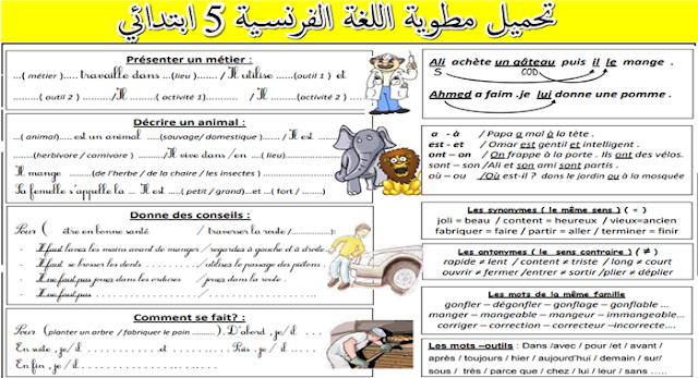 قواعد اللغة الفرنسية سنة خامسة ابتدائي