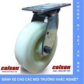 Bánh xe inox 304 vật liệu bánh xe đẩy Nylon | 4-4409-824 | www.banhxepu.net