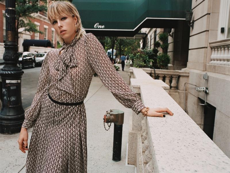 Zara Keep It Uptown Fall 2019 Lookbook featuring Edie Campbell
