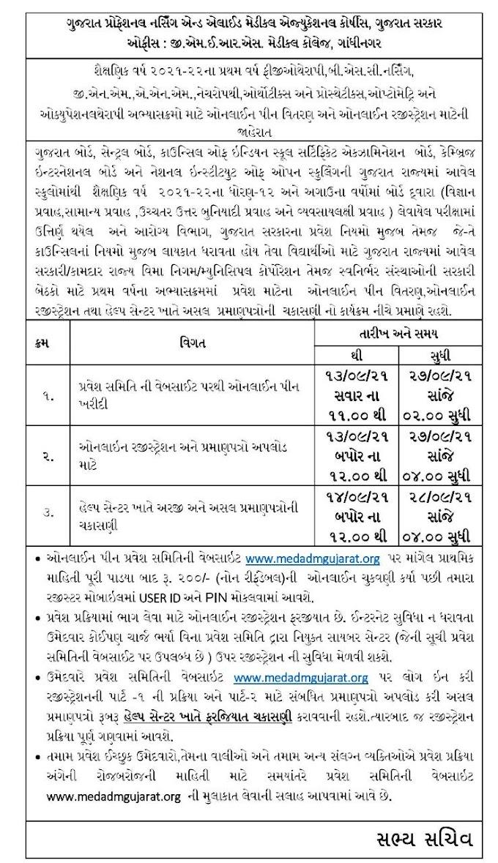 Gujarat Nursing GNM/ANM Admission 2021