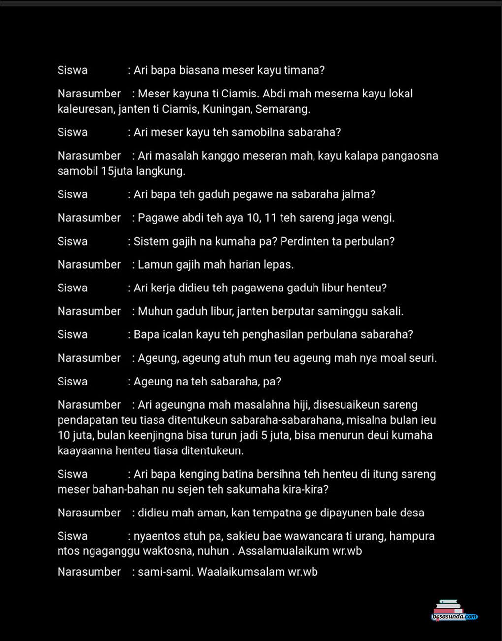 Contoh Gambar Susunan Makalah Hasil Wawancara Bahasa Sunda Kata Mutiara