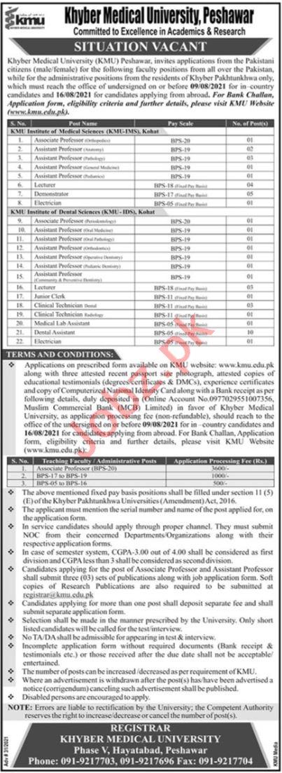 Jobs in Khyber Medical University KMU