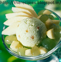 green apple ice cream with green chocolate jelly