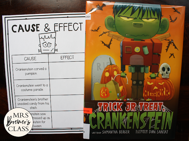 Trick or Treat Crankenstein book activities unit with literacy companion activities, class book, and craftivity Kindergarten First Grade