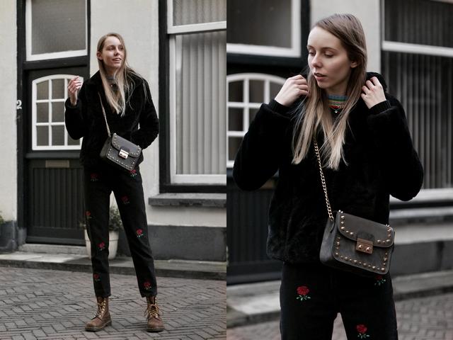 Outfit met grijze tas van kunstleer met gouden studs van Come Get Fashion