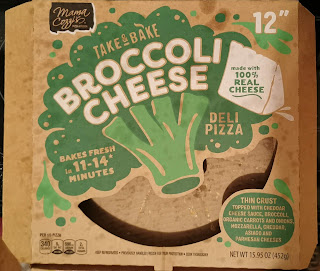 """Empty package of Mama Cozzi's Broccoli Cheese 12"""" Take and Bake Pizza, from Aldi"""
