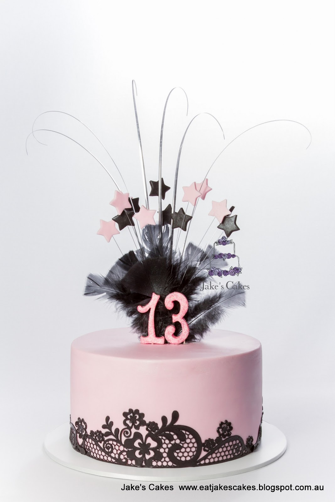 Pink And Black Lace 13th Birthday Cake