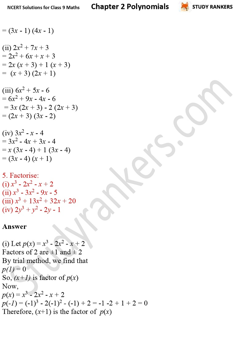 NCERT Solutions for Class 9 Maths Chapter 2 Polynomials Part 15