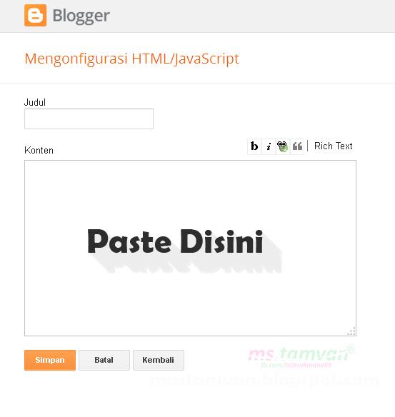 widget html/JavaScript blogger
