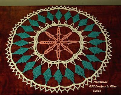 Irish Crochet Doily - Peach and Aquamarine Green - Handmade By Ruth Sandra Sperling of RSS Designs In Fiber