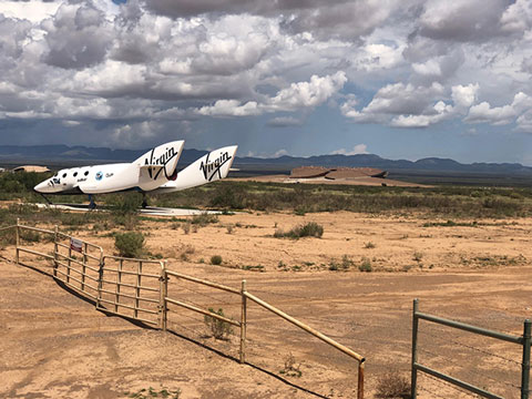 Virgin Galactic space plane on display on the road to Spaceport (Source: Palmia Observatory)