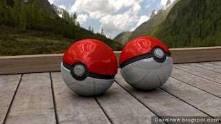 Karya Rendering Pokeball 3D di Blender