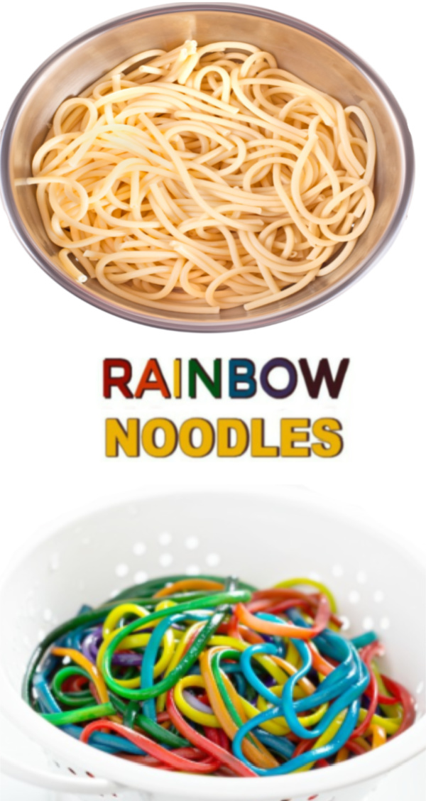 Dye noodles in every color to make rainbow spaghetti for kids. #rainbowspaghetti #howtodyepasta #sensoryactivitiestoddlers #sensoryplay #growingajeweledrose #activitiesforkids