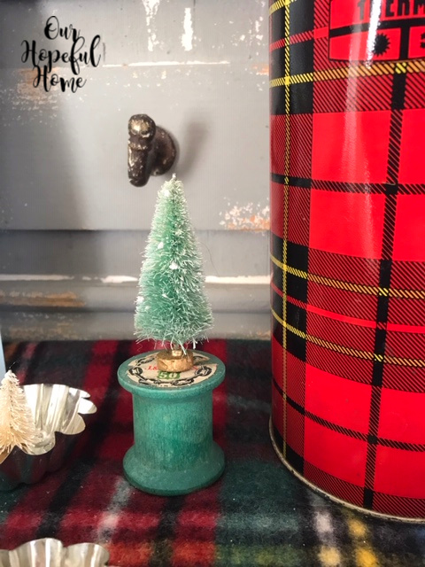 red plaid Thermos green spool vintage bottle brush tree