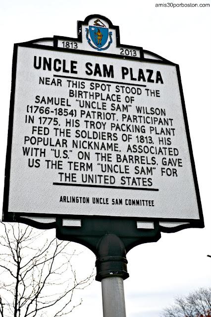Placa Histórica sobre Samuel Wilson en Arlington, Massachusetts