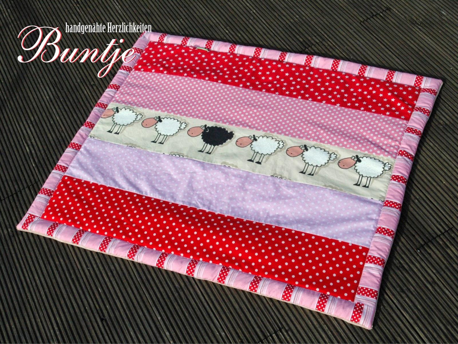 Krabbeldecke Zwillinge Mädchen Decke Baby Geschenk Geburt Taufe rosa rot Schafe Tiere Baumwolle nähen handmade Buntje