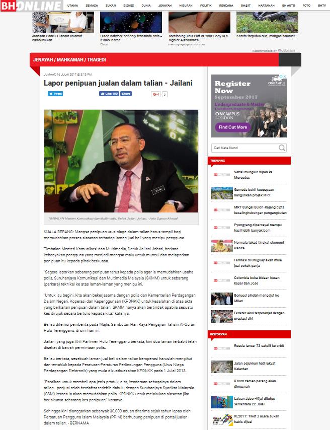 Lapor Penipuan Jualan Dalam Talian Jailani Berita Harian Online 15 7 2017