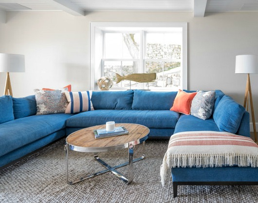 Blue Sofa in a Coastal Seaside Home