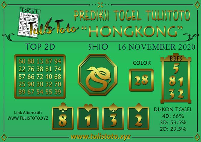 Prediksi Togel HONGKONG TULISTOTO 16 NOVEMBER 2020