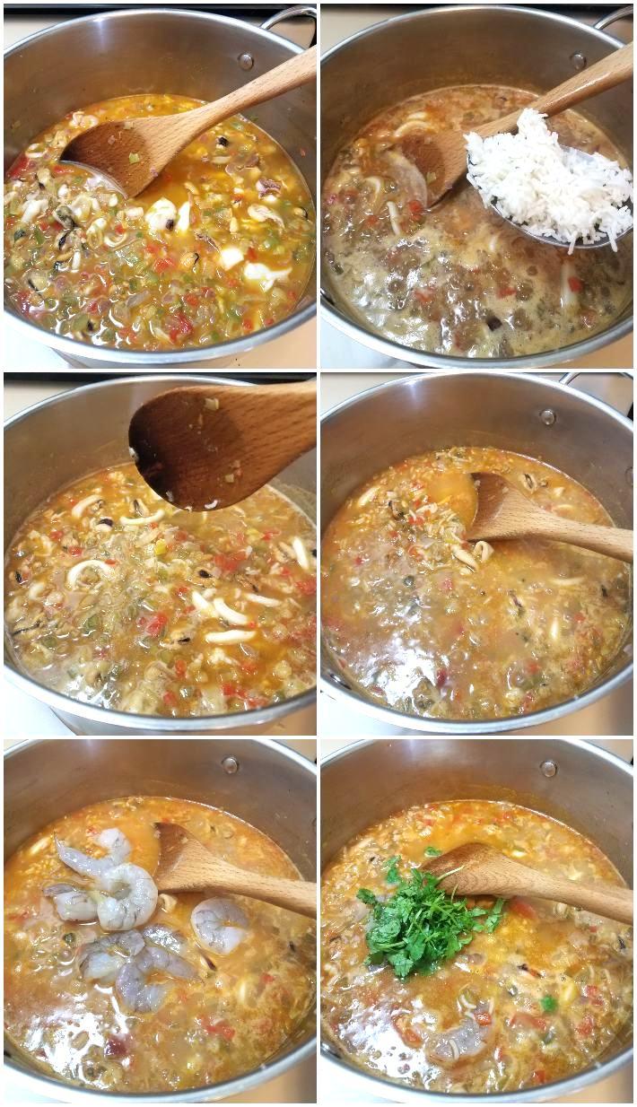 Cómo hacer el asopado de mariscos, segunda parte, collage de 6 fotos