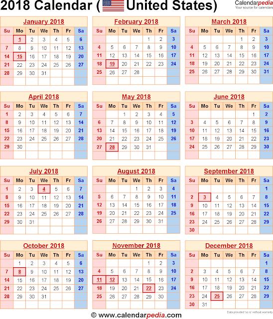 2018  Federal Holiday Calendar, Federal Holiday Calendar 2018, Federal Holiday Calendar