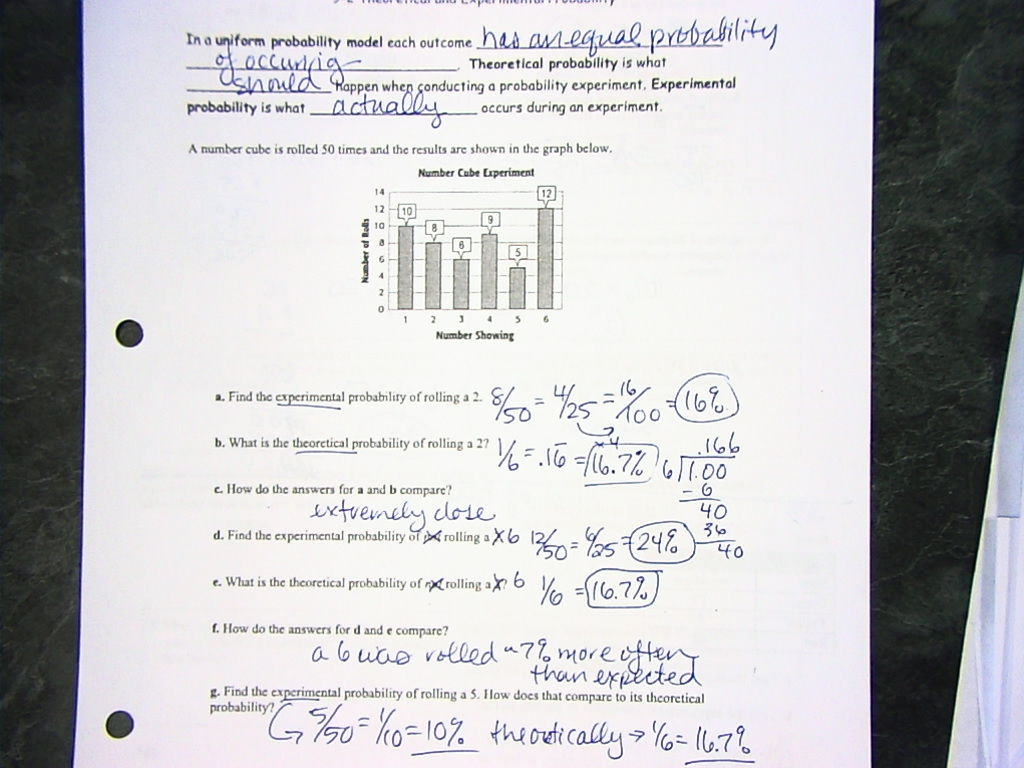 Worksheets Theoretical And Experimental Probability Worksheet math 7 with mrs vandyke october 19 20 9 2 theoretical experimental probability here
