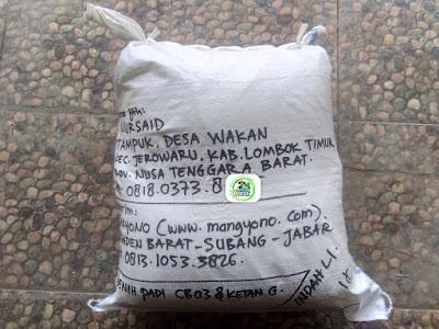 Benih Padi yang dibeli  H. NURSAID Lombok Timur, NTB.    (Setelah packing karung).