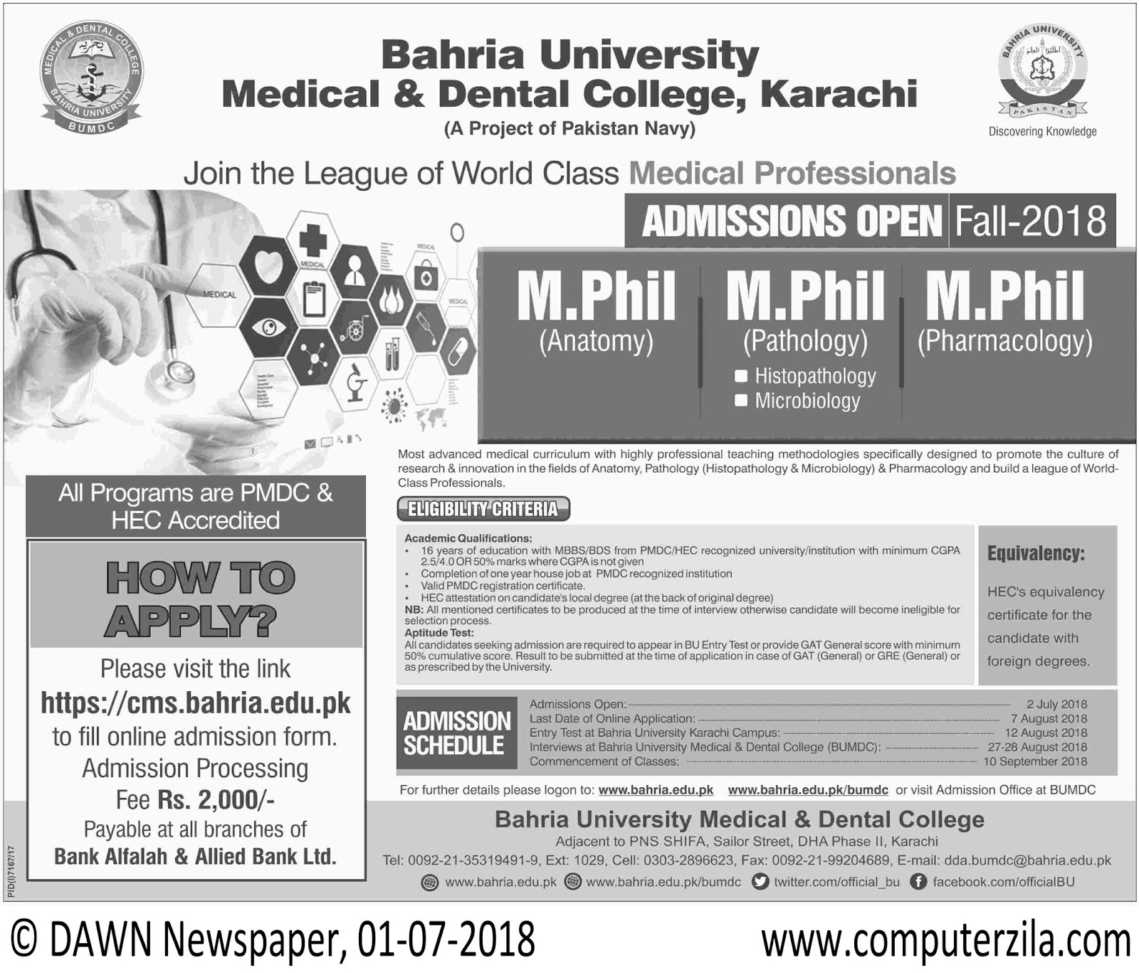 Bahria University Medical & Dental College Admissions Fall 2018