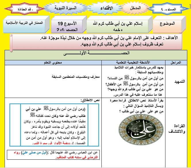 جذاذة الإقتداء إسلام علي بن أبي طالب المستوى الخامس Word