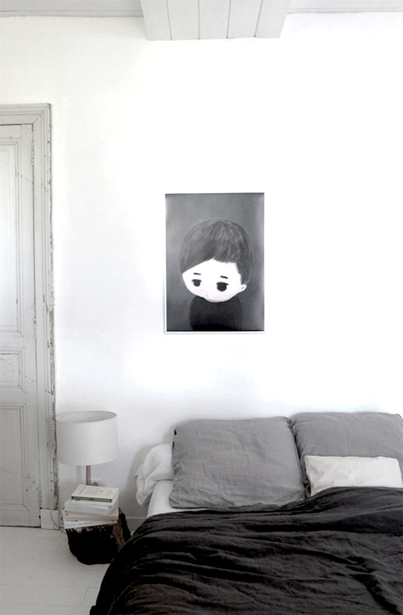 Black And White Scandinavian Bedroom. Lu0027Affiche Moderne