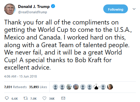 2026 World Cup:  I worked hard on this, along with a Great Team of talented people - Donald Trump