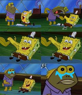 Polosan meme spongebob dan patrick 81 - ikan coklat tom sadar dan menangis setelah melawan spongebob