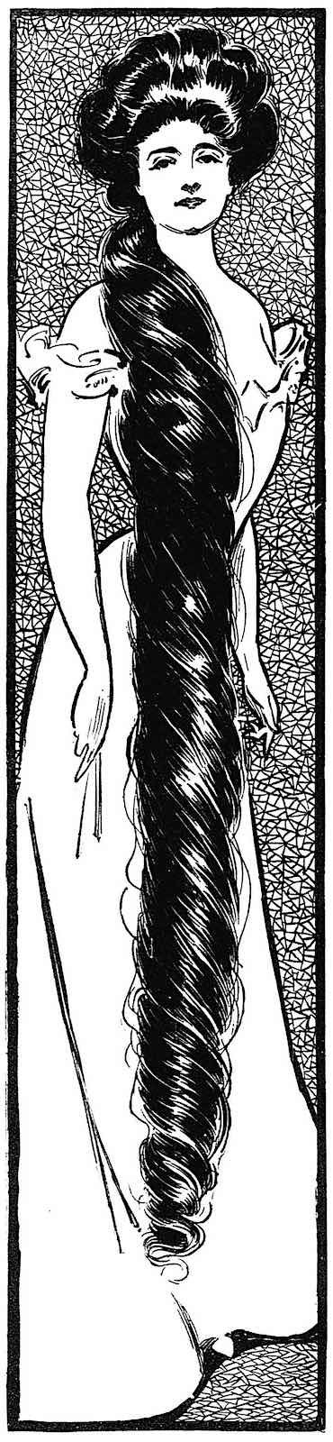 big hair in 1906, an illustration of a pretty woman with very long hair