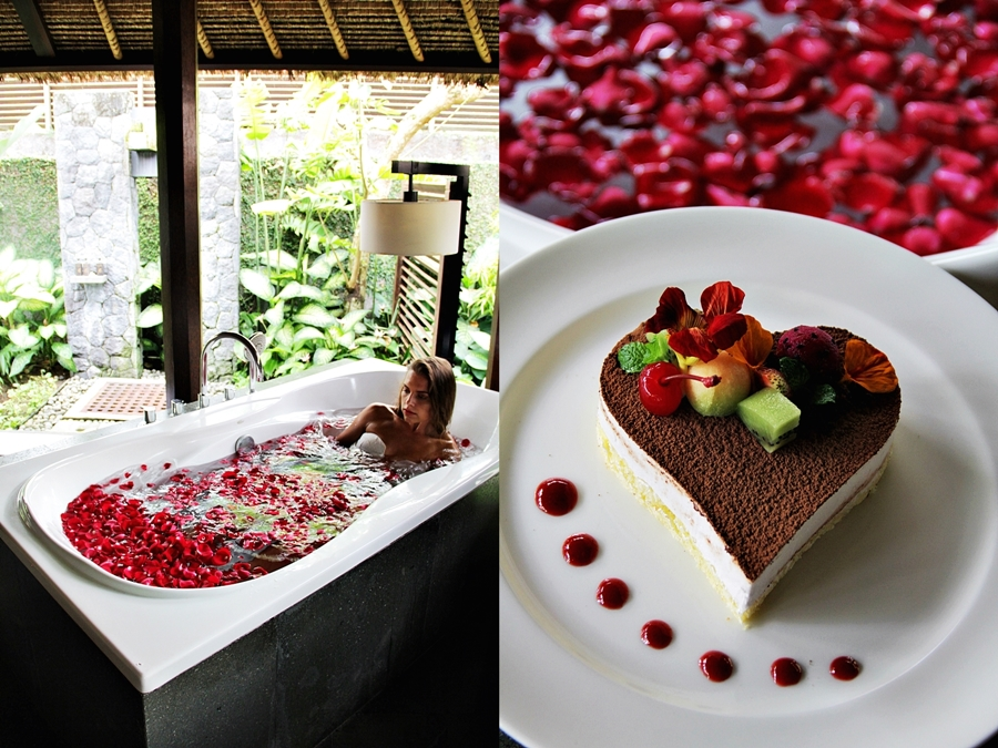 bali honeymoon wedding bride cake flower bath