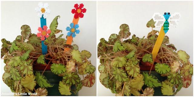 Mini Hama bead plant markers